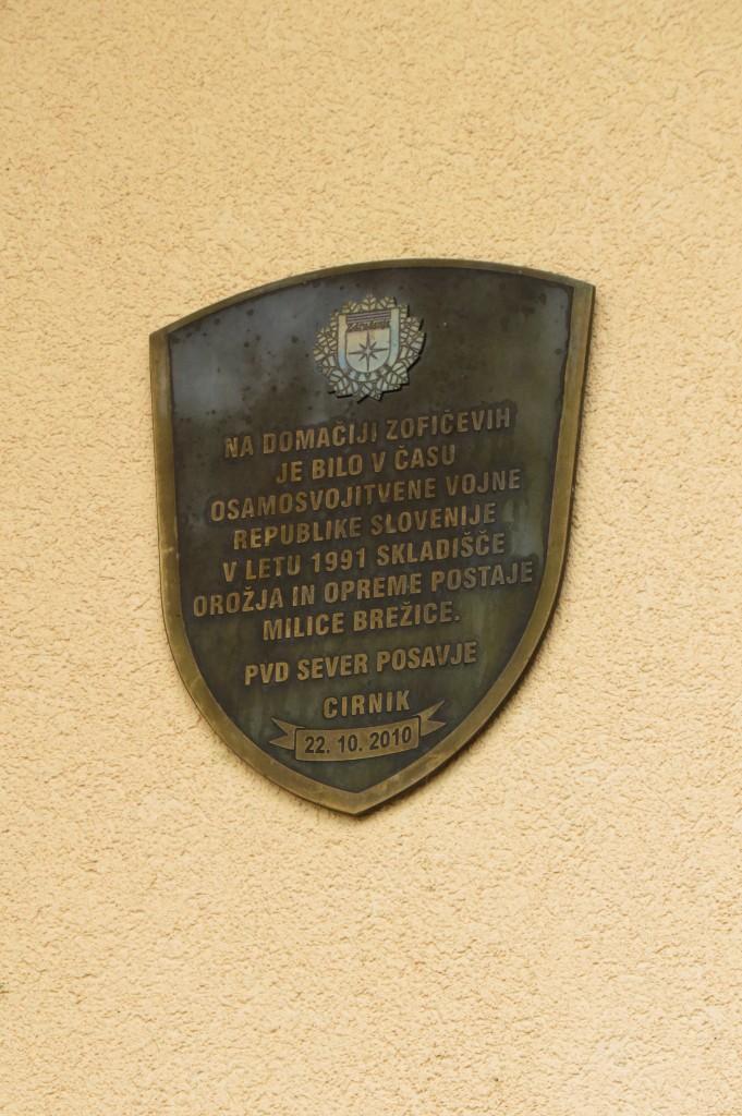spominska plošča na hiši Zofičevih